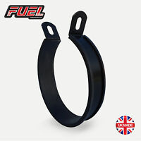 Black Stainless Oval Central Exhaust Hanging Strap Hanger Clamp Mounting Bracket