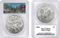 2020 $1 American Silver Eagle PCGS MS70 Mount Trumpmore Label