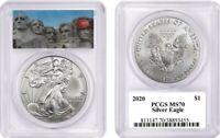 2020 $1 1 OZ Silver Eagle MS70 PCGS Mount Trumpmore Label