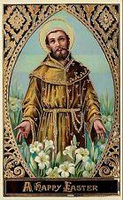 SB Ser.7128 A Easter Postcard Religious Risen Christ Among the Lilies, Gold Trim