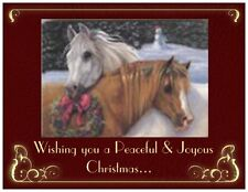 20 CHRISTMAS TWO HORSES Wreath Greeting Flat CARDS Envelopes Seals