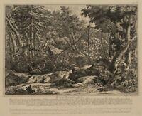 Nach Joh. RIDINGER(*1698), Ins Netz gefallene Hirsche, 19.Jh, Reproduktion