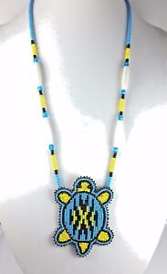TURQUOISE BLUE TURTLE NATIVE STYLE INSPIRED BEADED LONG NECKLACE EARRINGS S58/4