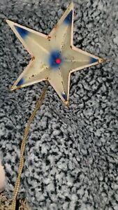VINTAGE NOMA ILLUMINATED CHRISTMAS TREE STAR METAL WHITE & BLUE Works!