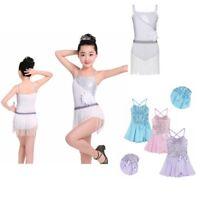 Girls Ballet Leotard Tutu Dress Kids Latin Ballerina Skater Dancewear Costume