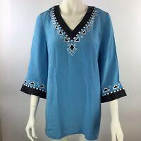 BOB MACKIE Wearable Art Teal Blue Embellished 100% Silk 3/4 Sleeve Tunic M New