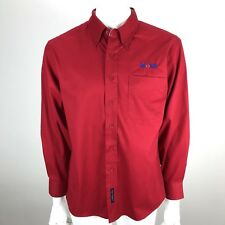 Exxon Mobil Port Authority Employee Uniform Button Down Shirt Red - Size Small
