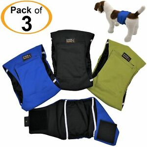 PACK of 3 LEAK PROOF Male Dog Diapers Belly Band Wrap Washable XS, S, M, L, XL