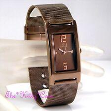 Designer Elegant Chainmail Mesh Stainless Bronze Brown Rhodium Pltd Unisex Watch