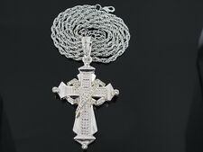 """CROSS SILVER TONE PENDANT CHARM 36"""" ROPE CHAIN NECKLACE HIPHOP BLING"""