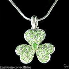 Shamrock made with Swarovski Crystal Irish St Patrick's Day Leaf Clover Necklace