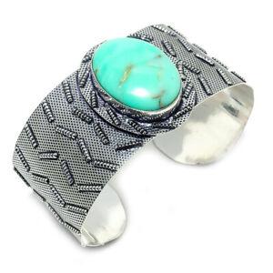 Chrysoprase Gemstone Handmade Ethnic Gift Cuff Jewelry Bracelet Adjustable M121
