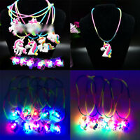 LED Flashing Silicone Necklaces Colorful Unicorn Peandant Xmas Party Toy Favors