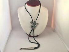 Vtg Southwest Bolo Tie Sterling Silver Turquoise Coral Pendant Leather Straps