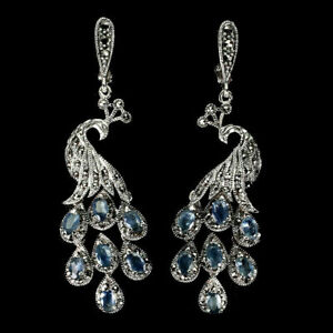 Earrings Blue Sapphire and Marcasite Genuine Gem Peacock Solid Sterling Silver