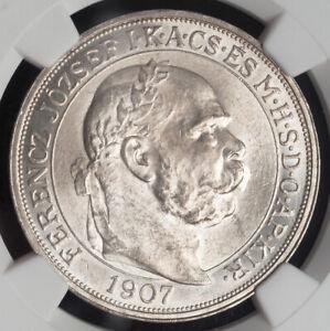 1907, Hungary, Franz Josef I. Silver 5 Korona Coin. Original Strike! NGC MS-63!