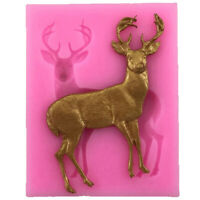 3D Christmas Deer Elk Shape Fondant Mould Cake Chocolate Silicone Mold T Fw