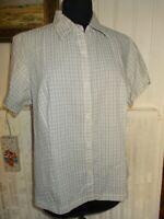 Chemisier coton/polyester beige rayé gaufré COLUMBIA XL 42/44 manches courtes