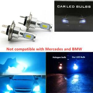 H7 CSP LED Headlight High Low Beam Bulbs Kit 8000K Blue 6000LM Super Bright 2X