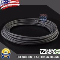"50 FT. 50' Feet BLACK 1/8"" 3mm Polyolefin 2:1 Heat Shrink Tubing Tube Cable UL"