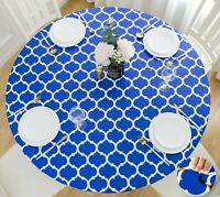 Vinyl Tablecloth Round Fitted Elastic Flannel Moroccan Trellis 36-56 Inch Tables