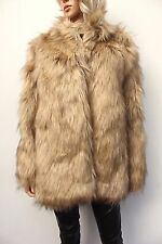Asos Beige VIntage Style Faux Fur Luxurious Dress Jacket Coat Size 14 42 US 10