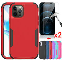 For iPhone 12 Pro 12 Mini 12 Pro Max Case Shockproof Hard Cover+Screen Protector