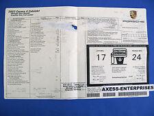 2003 Porsche 996 911 Carrera 4 C4 Cab Conv Window Sticker MSRP $98,430 # G109F