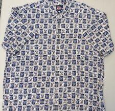 Harley Davidson Men's All Over Print Shirt Size 2XL S/S Pocket Blue Tan GUC