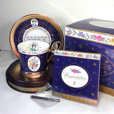 1995 Avon Honor Society Mrs Albee Teacup Saucer 14Kt Gold Porcelain China MIB