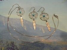 "STERLING  SILVER TURQUOISE DREAM CATCHER  DROP DANGLE""NECKLACE/EARRINGS""   925"