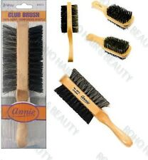 "ANNIE NATURAL BOAR BRISTLE CLUB BRUSH 7"" SOFT AND HARD WAVE BRUSH 2072 TWO WAY"
