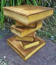 """Stacked Book Side Table 16""""/Lamp Table/Plant Stand/Hand Carved/Solid Wood/Gold"""
