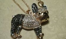 Betsey johnson. Black n Clear French Crystal  Bulldog necklace