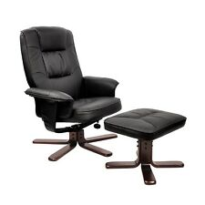 NEW PU Leather Lounge Recliner Chair Ottoman Black