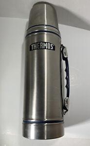 Thermos Original Stainless Metal Flask 1 L Capacity Blue Trim Model 2420