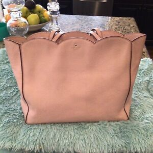KATE SPADE XL PINK SCALLOPED SATCHEL PEBBLED LEATHER PURSE EUC WITH COA