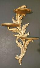 Vtg Syroco Wood Triple Tier Wall Shelf Hollywood Regency Acanthus