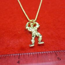 14KT GOLD EP  BODYBUILDER WITH 20' ROPE CHAIN DESIGNER NECKLACE-2241