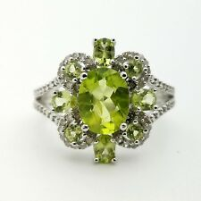 New 925 Sterling Silver Real Diamond & Oval Round Peridot Band Ring Size 8*