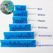 6PCS Blessing Letter Fondant Cutter Mould Icing Sugarcraft Cake Decorating Tools
