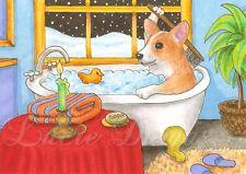 ACEO art print Dog 48 Corgi in bath from original painting L.Dumas