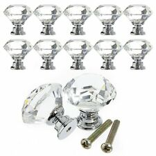 Zinc Alloy Crystal Drawer Pull Furniture Handle with Screw, Silver and Transp...
