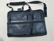 Tumi Black Full Leather Expandable Briefcase Laptop Bag 96160 DH Carry On