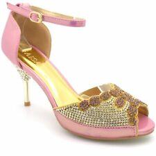 Señoras Mujeres Zapato Taco Alto Tobillo Diamante Graduación Fiesta Nupcial Sandalias Zapatos 189-6