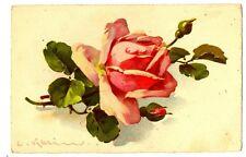 CPA Fantaisie Fleurs Rose Illustration C. Klein fantasy postcard