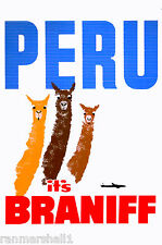 Peru Inca South America by Clipper Llama Vintage Travel Advertisement Poster