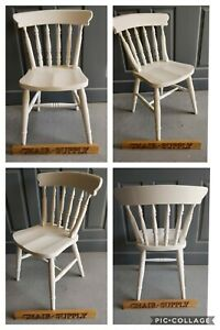 New Painted Spindle Back Farmhouse Kitchen Dining Chairs F&B Pointing White
