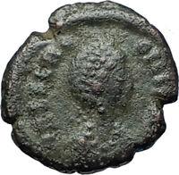 AELIA FLACILLA Theodosius I Wife 383AD Ancient Roman Coin VICTORY CHI-RHO i68093