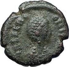 Aelia flacilla Teodosio I esposa 383AD antigua moneda romana victoria Chi-rho i68093